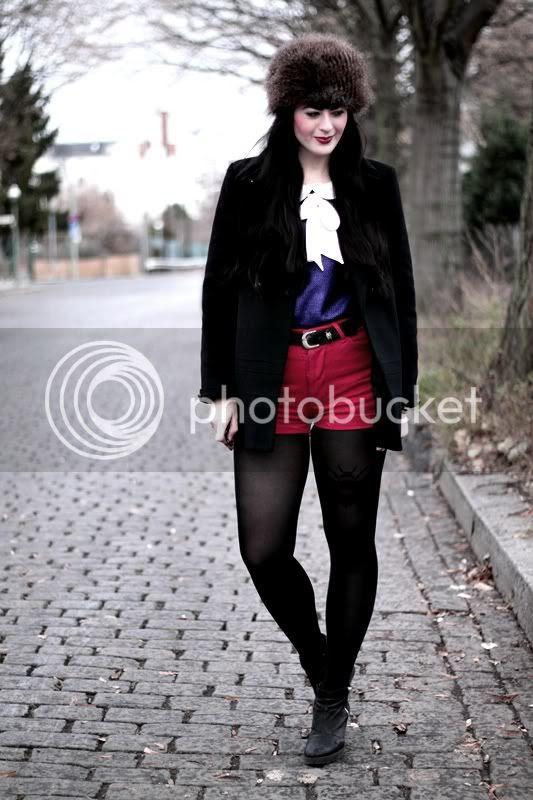 vintage outfit zara mantel fake fur fellmütze h&m