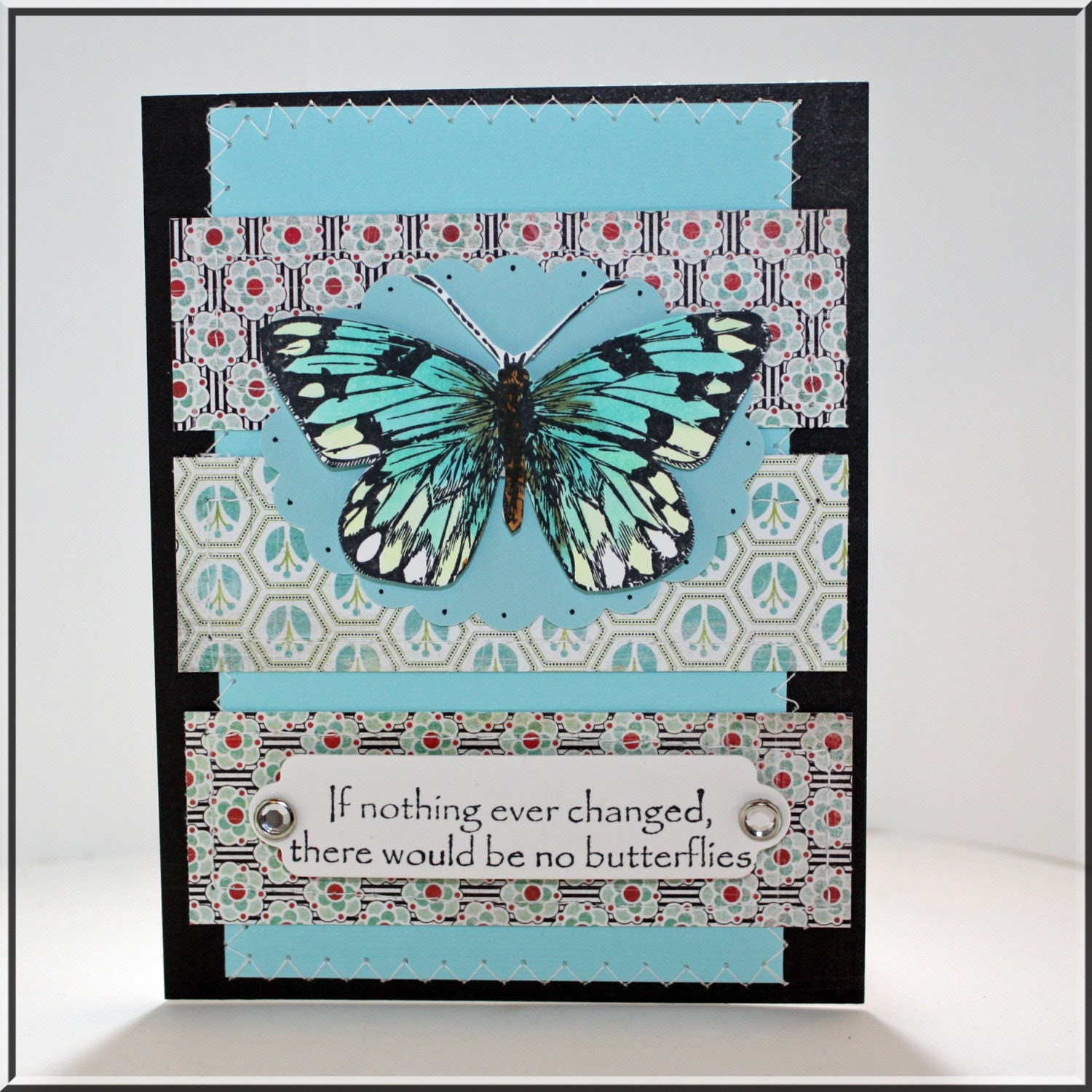 Handmade stamped butterfly encouragement greeting card