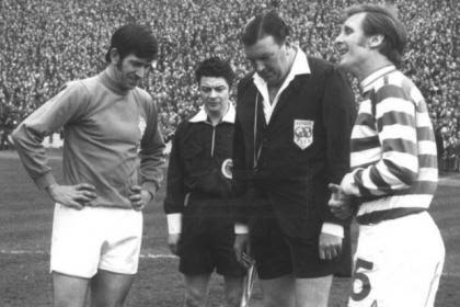 Referee Tom 'Tiny' Wharton with Rangers captain John Greig and Celtic captain Billy McNeill before the Scottish Cup Final at Hampden in 1971 which ended 1-1. Celtic won the replay 2-1
