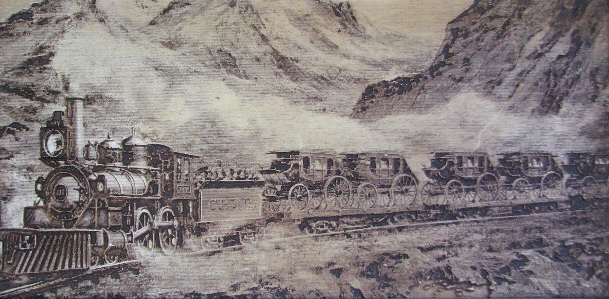 Unknown plaster tile image of Train hauling Stagecoaches