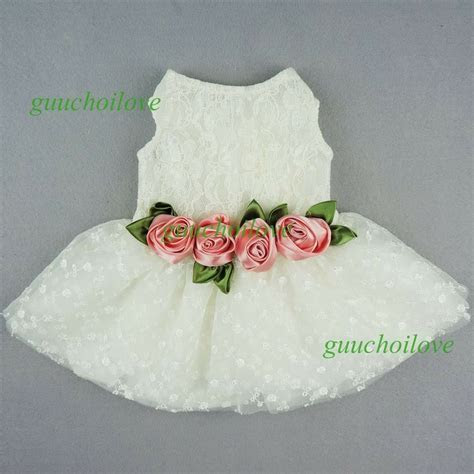 Fitwarm Pink Rose White Lace Dog Wedding Dress Pet Clothes