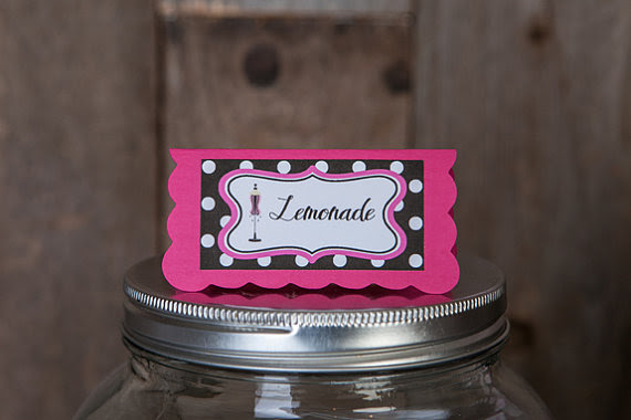 Bridal Shower Food Tents Menu Cards Place Cards Food Signs