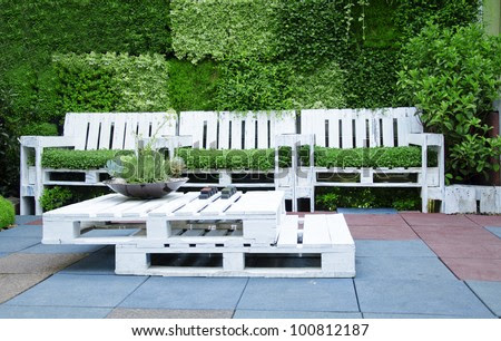 Shot Of Furniture Made Of Pallets. Innovative And Environmentally ...