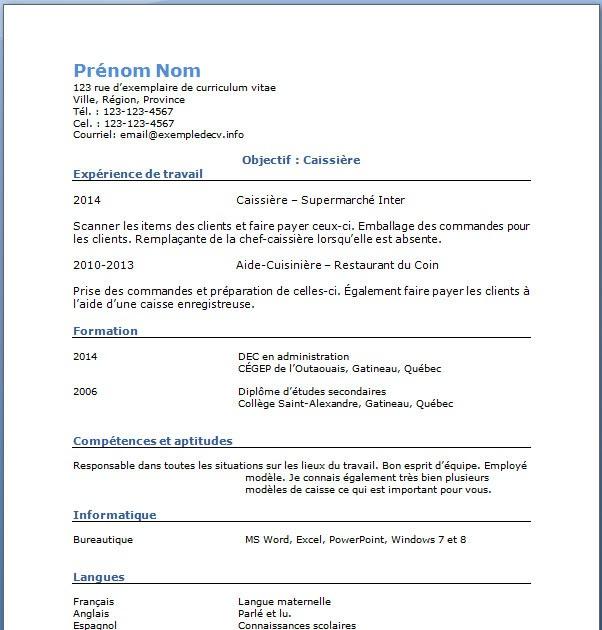 resume format  modele de cv gratuit caissiere