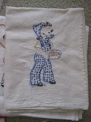Adorable Jumpsuit Girl Embroidered Dishtowel