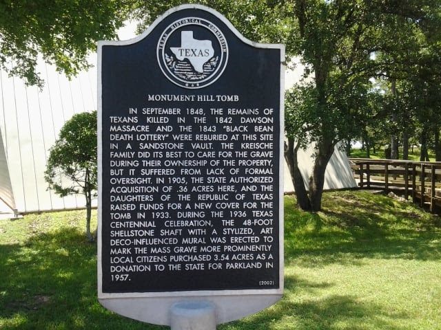 Monument Hill State Park - La Grange, TX, United States. Monument Hill Tomb historical marker.