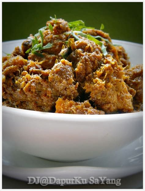 dapurku sayang nasi impit kuah kacang  rendang daging