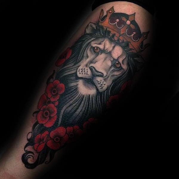 50 Lion With Crown Tattoo Designs For Men Royal Ink Ideas