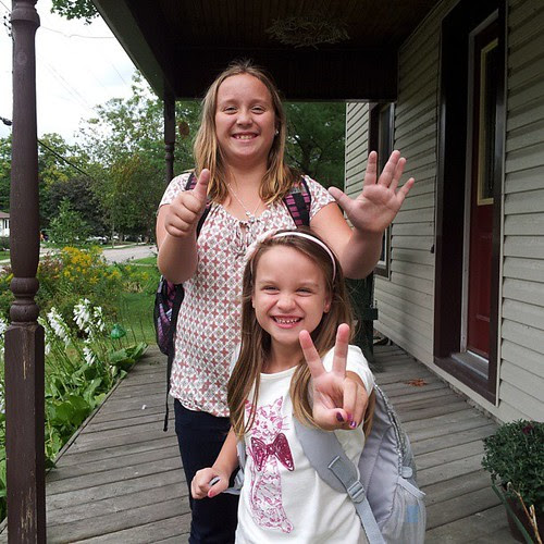 First day of school! Grade six and grade two.