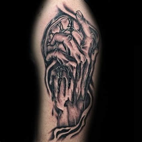 melting clock tattoo designs men salvador dali