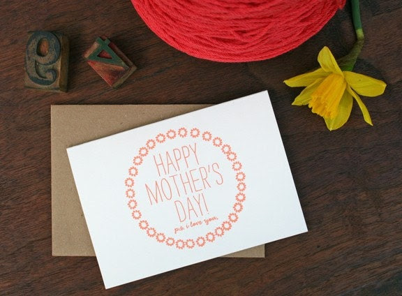 Happy Mothers Day - Hand Letterpressed single card
