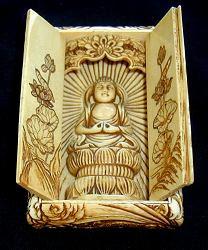 فترة Meiji استثنائية مزار Ivory بوذا - (4 في. طويل القامة)