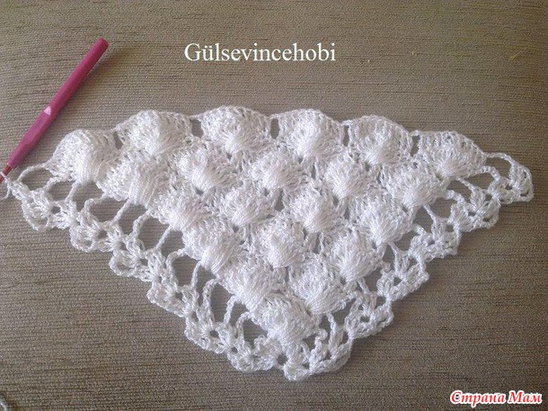 White crochet shawl.
