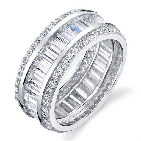 925 Sterling Silver thick CZ Baguette Eternity Wedding