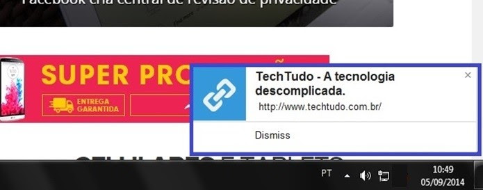 Notificação no PC enviada pela extensão para Chrome (Foto: Reprodução/Raquel Freire)