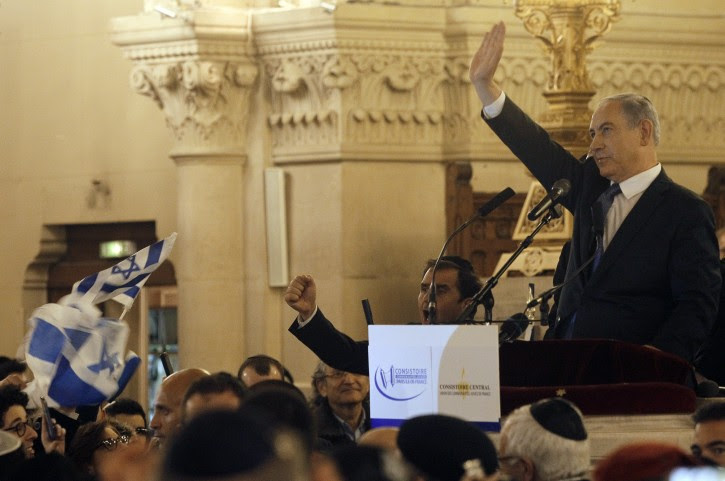 Israel's Prime Minister Benjamin Netanyahu gives a speech during a ceremony for the victims of the attacks in Paris this week, which claimed 17 lives, at the Grand Synagogue in Paris, France, 11 January 2015.  EPA