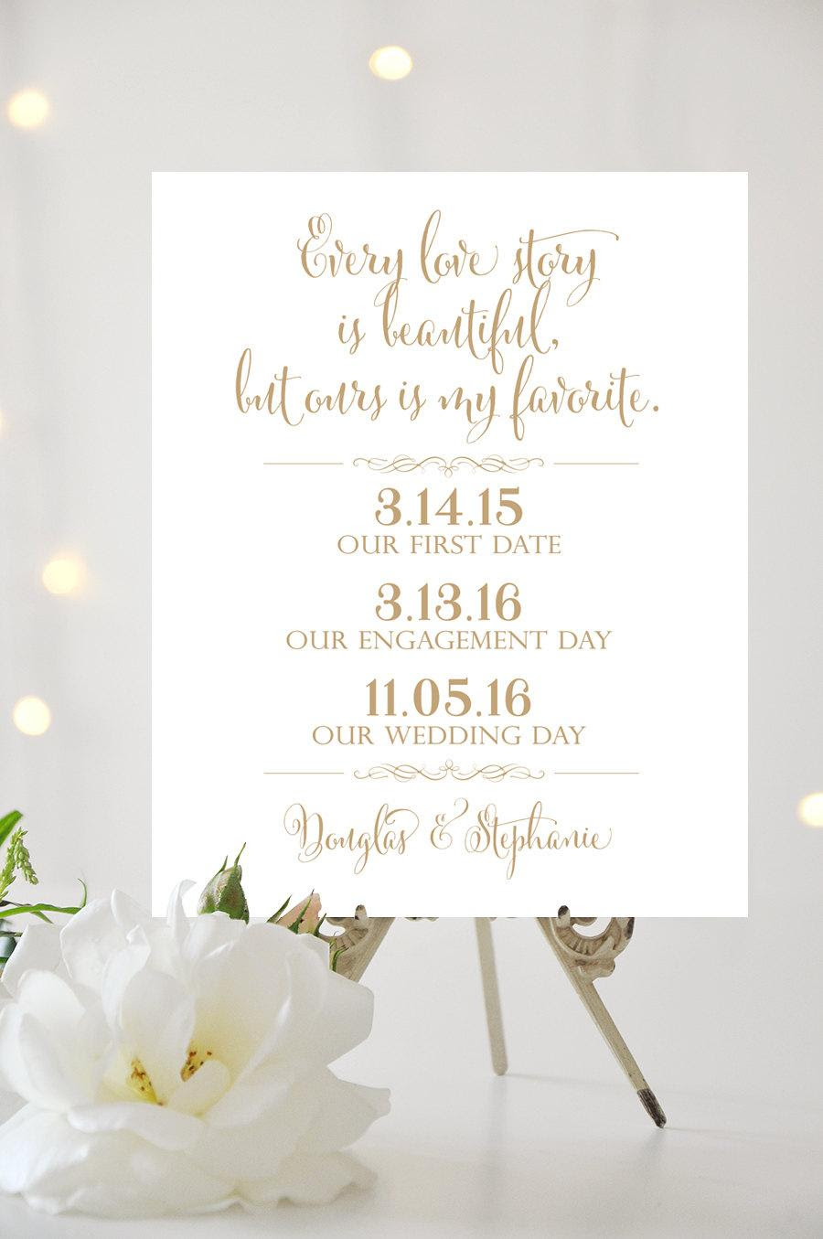 Our Love Story Wedding Sign 8 X 10 Or 11 X 14 Or 16 X 20