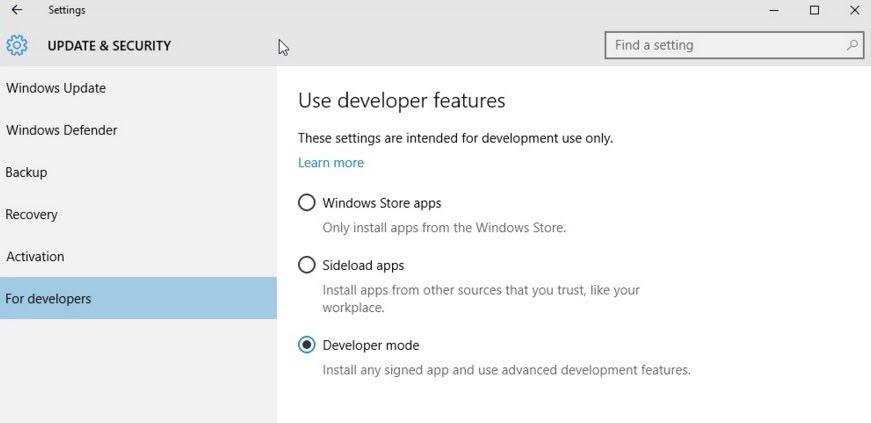 bash on ubuntu on windows 10 developer mode