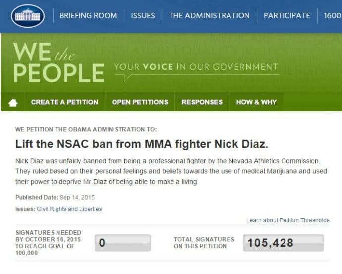 Nick Diaz petição Casa Branca