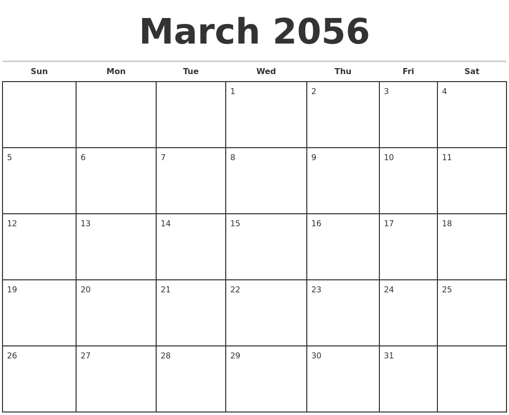march 2056 monthly calendar template