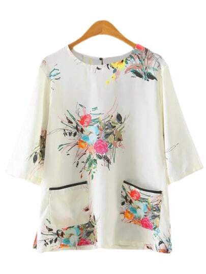 Multicolor Half Sleeve Pockets Floral Print Blouse pictures