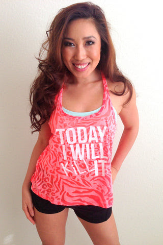 Today I will Kill It Tank in Neon Coral