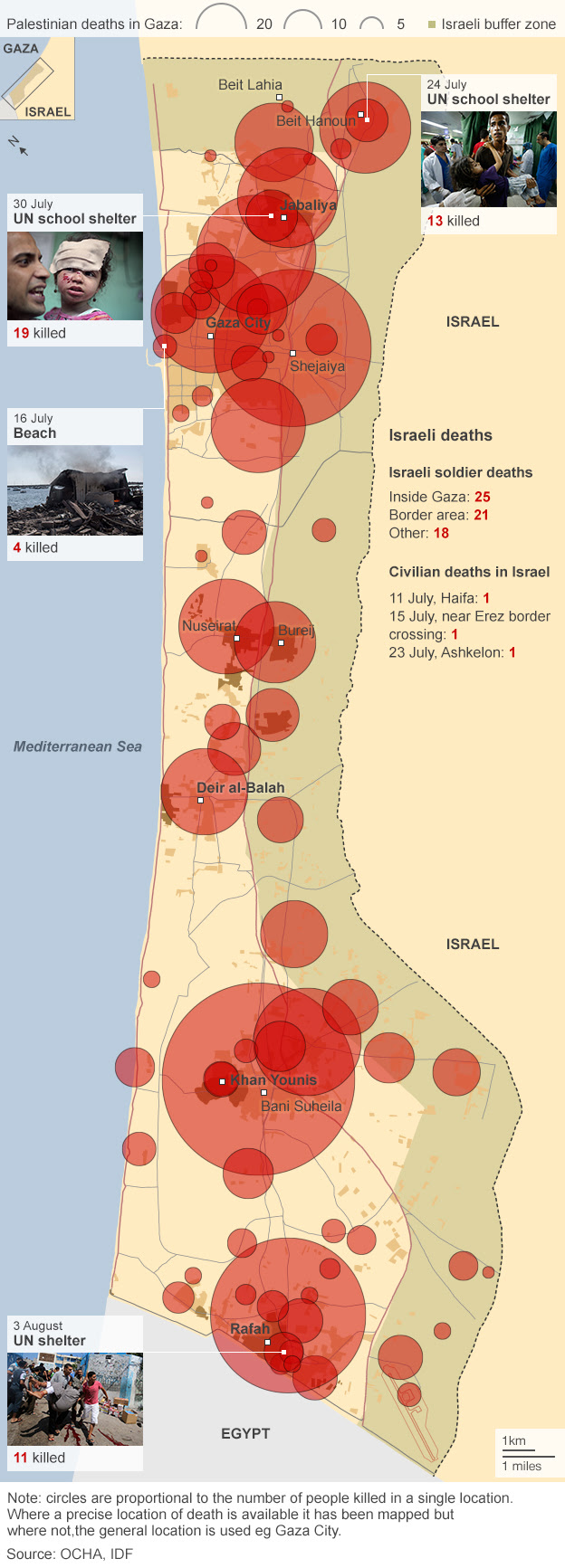 Map of deaths in the current Gaza conflict