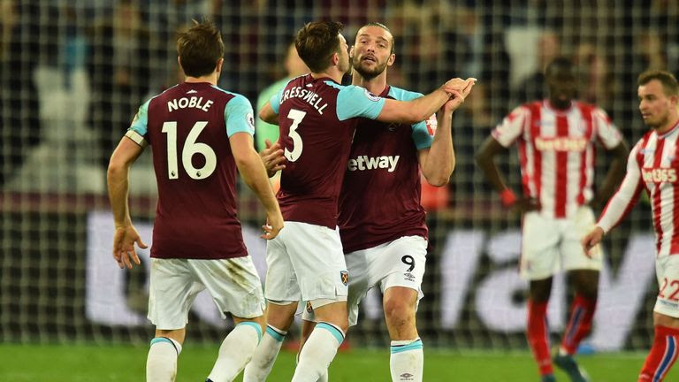 Andy Carroll (right) is congratulated after equalising late on for West Ham