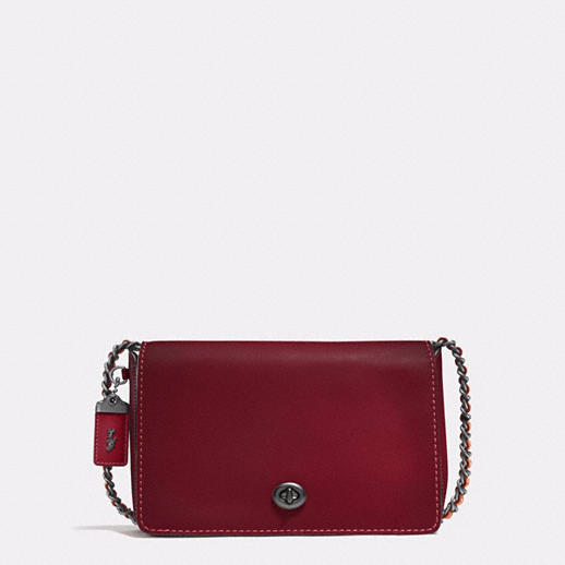 Coach 1941 Dinky 24 in glovetanned leather - black copper/ bordeaux