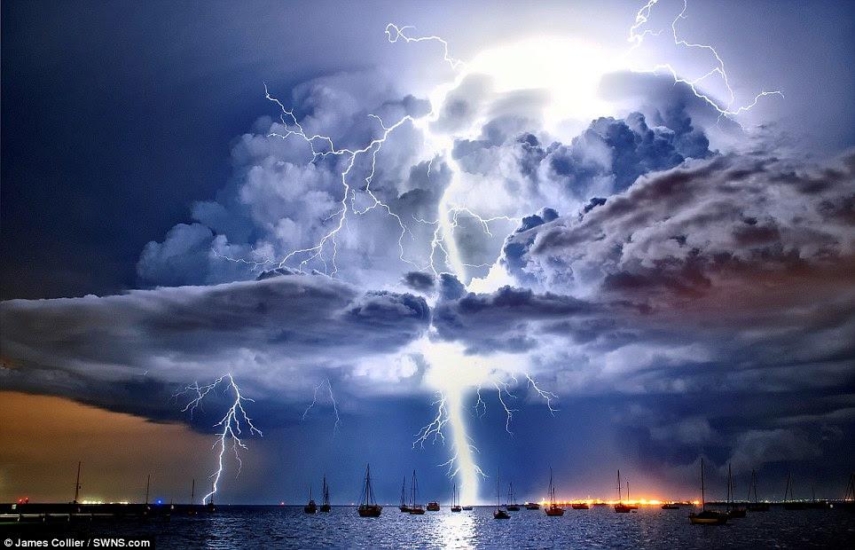 December: Lightning illuminates a cumulonimbus cloud over Corio Bay, Victoria by James Collier