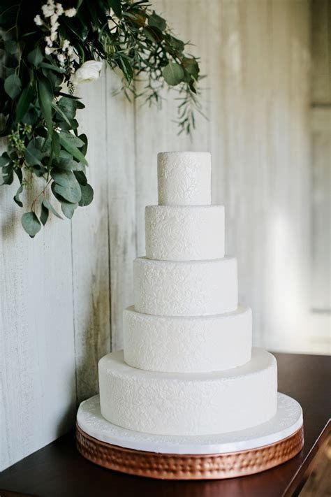 White Wedding Cake With Pressed Floral Design   Elizabeth