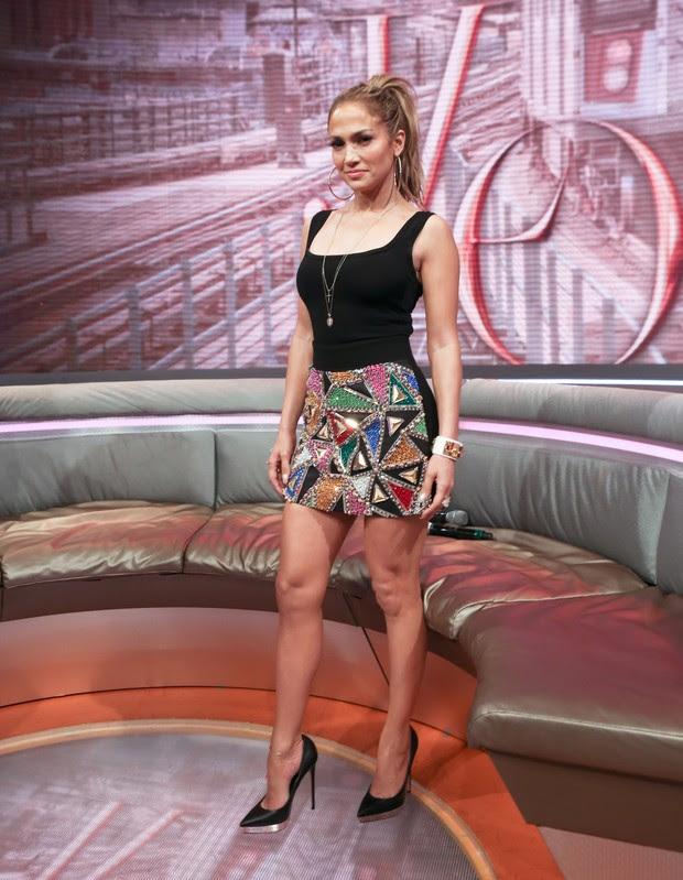 Jennifer Lopez em programa de televisão em Nova York, nos Estados Unidos (Foto: Bennett Raglin/ Getty Images )