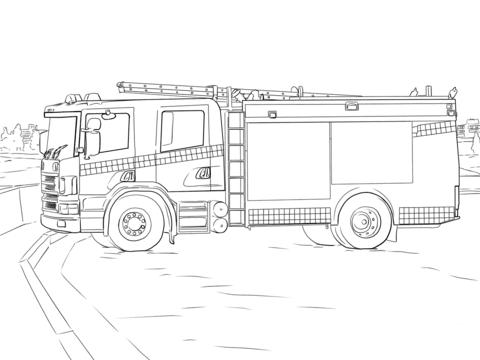 消防車 ぬりえ