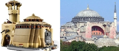 Left: Jabba the Hutt's Lego palace; Right: The Hagia Sophia