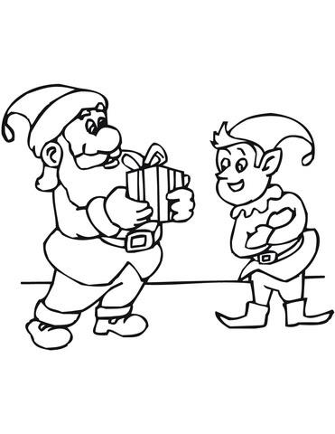 Coloriage Lutin Avec Le Père Noël Coloriages à Imprimer Gratuits