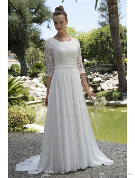 Discount Informal Lace Chiffon Modest Beach Wedding