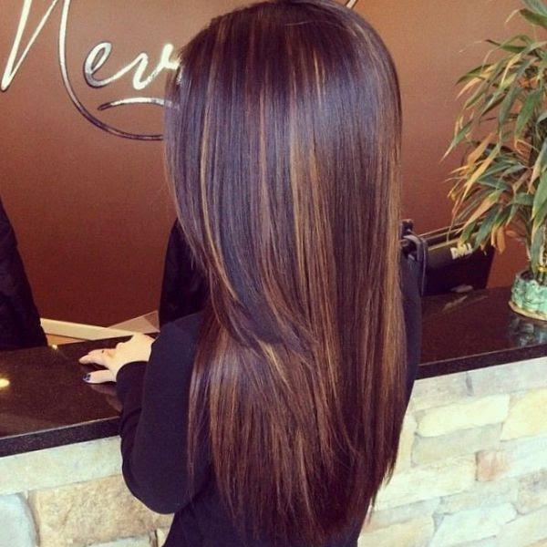 Braune Strähnchen Auf Verschiedenen Haarfarben