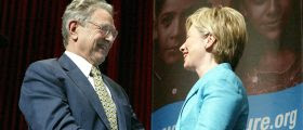 George Soros and New York Sen. Hillary Clinton in 2004. (Getty Images)