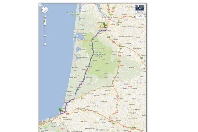 Google Maps propose une balade à vélo entre Biarritz et Bordeaux. (crédit : D.R.)