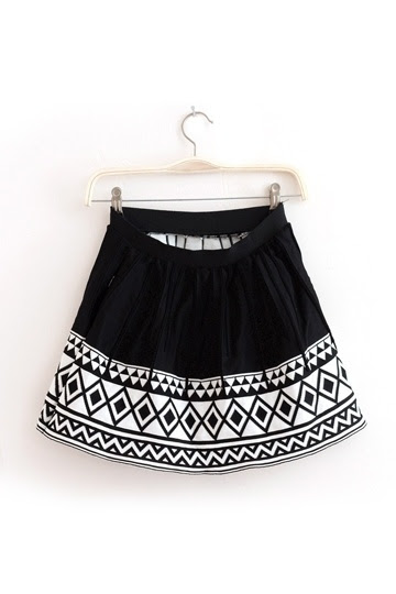 Vintage Geometric Pattern Frilly  Skirt