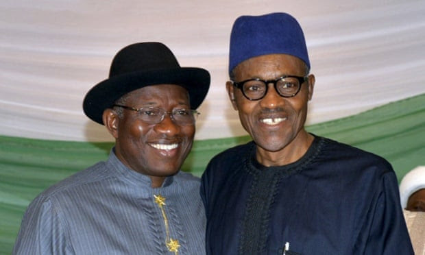 Goodluck Jonathan (left) and Muhammadu Buhari posing for a photo before the election.