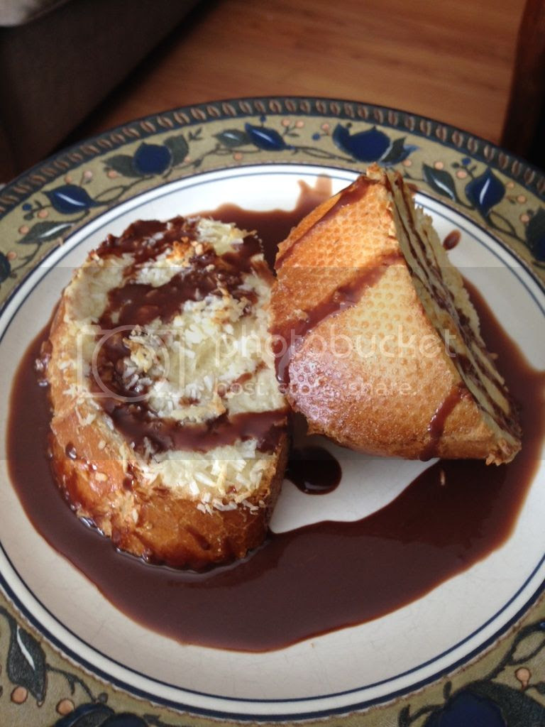 Mother's day breakfast banana stuffed coconut french toast with chocolate sauce