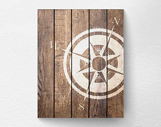 Nautical Compass Wall Art Print Poster Decor, Beach House Art - NOT REAL WOOD