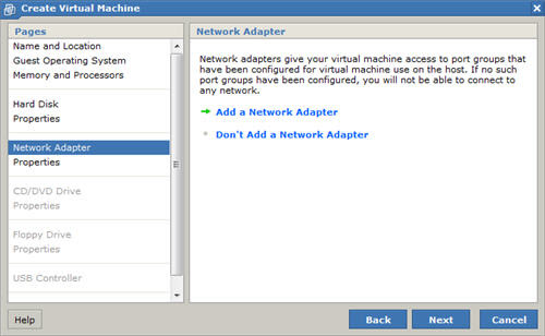 New Virtual Machine Wizard Network Adapter
