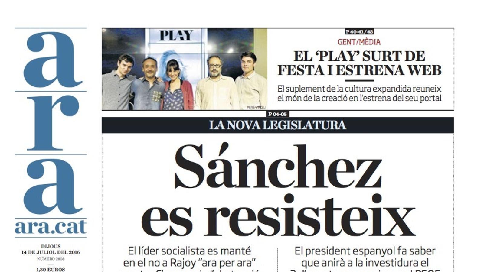 """""""Sánchez es resisteix"""", portada de l'ARA"""