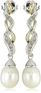 Freshwater Cultured Pearl and Diamond Drop Earrings