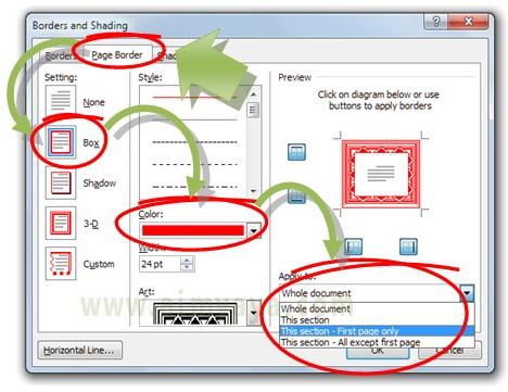 Gambar: Cara membuat page borders pada halaman tertentu di microsoft word