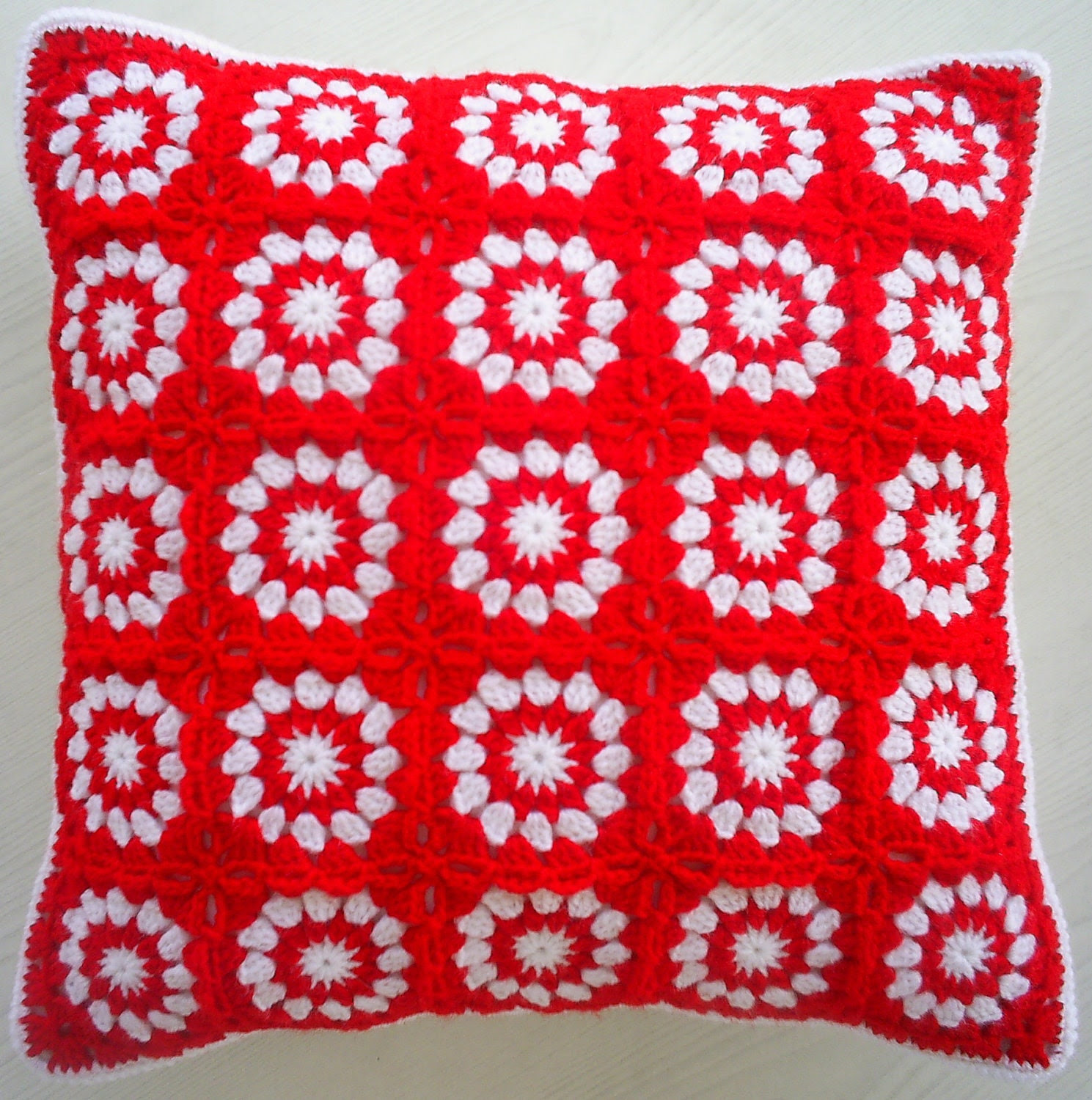 the red and white granny square cushion cover / pillow cover - handmadebyria