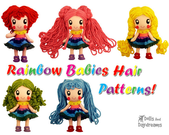 Kawaii Anime Manga Chibi Doll Hair Sewing Pattern Rainbow Babies DIY copy