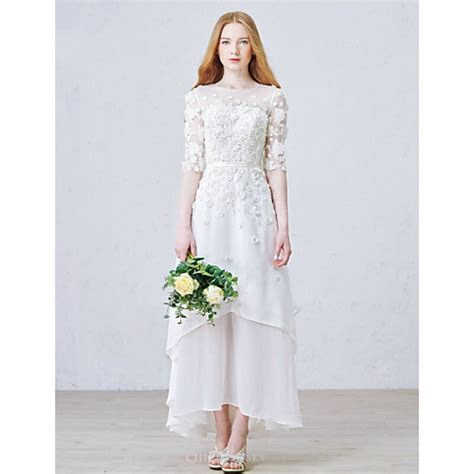 A line Ankle length Wedding Dress   Jewel Chiffon,Cheap Uk
